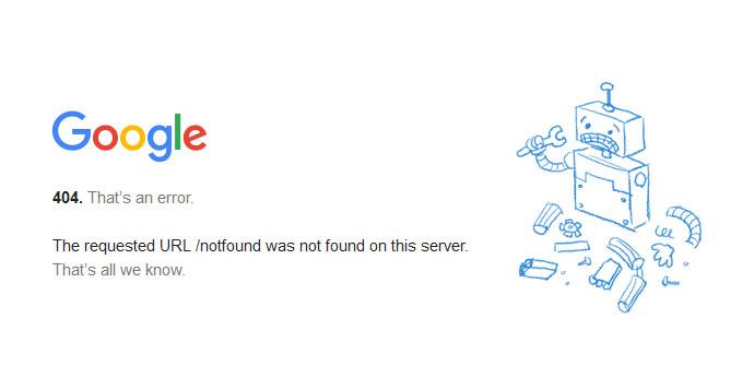 Errore 404 Google